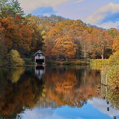 The Boathouse (Rob McC) Tags: autumn fall winkworth national trust arboretum tress foliage woodland woods water reflection waterfront lake boathouse building landscape