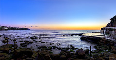 She's Comin' (JustAddVignette) Tags: australia bluehour brontebeach dawn early easternsuburbs firstlight headland landscapes newsouthwales ocean panorama photographer rockpool rocks seascape seawater sky sunrise sydney water