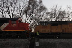 a very rare event (aquascissors) Tags: m337 u706 cn canadiannational unionpacific illinoiscentral freeportsub freeport railroad railway railfanning rail trains freighttrains freighttrain freight emd meet trainmeet berwyn chicago il