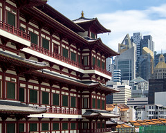 Enduring Temple (thecrapone) Tags: temple chinese japan pray sign intricate wood building roof decoration noon red old traditional contrast singapore cityscape buddhatoothrelictempleandmuseum