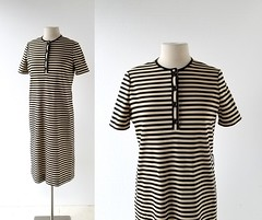 1970s striped dress, from Tannel Knits (Small Earth Vintage) Tags: smallearthvintage vintageclothing vintagefashion dress 1970s 70s striped stripes black tan tannelknits