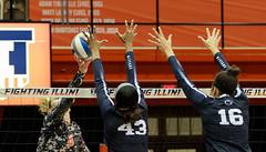 All hands on deck (RPahre) Tags: swing block hands pennstate psu pennsylvaniastateuniversity universityofillinois illinois champaign huffhall huff volleyball net b1g bigten