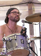 Tayo Branston; Five Alarm Funk (peterkelly) Tags: digital canon 6d guelphlakeconservationarea guelph ontario canada northamerica concert music musician hillside hillsidefestival 2018 mike mic microphone tayobranston fivealarmfunk eyeglasses glasses cymbal hat drummer drum drumming drumstick playing