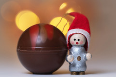 Imagine if this was human sized! (hehaden) Tags: figure wooden hat red decoration truffle confection chocolate bokeh macro christmas sel90m28g