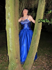 Tree lady (Paula Satijn) Tags: girl lady dress gown ballgown satin silk shiny skirt blue garden outside chic classy posh elegant happy smile joy fun peasure girly feminine sparkly beads sweet pretty cute night