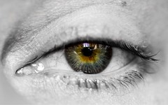 """""""The soul can speak through the eyes, and kiss with a look.""""  -Gustavo Adolfo Bécquer- (tomaszbaranowski007) Tags: experiment home soul look me selectivecolour closeup nikond5500 d5500 tamron 90mm macro iris colour eye"""