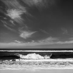 phillip-island-2093-ps-w (pw-pix) Tags: beach waves wave breaking spray sand foam ripples breakers surf whitewater ocean water bassstrait lookingsouth sky clouds landscape seascape bw blackandwhite monochrome sonya7 irconvertedsonya7 850nminfrared ir infrared spring warm sunny coast coastal phillipislandnaturepark capewoolamibeach capewoolami phillipisland westernport victoria australia peterwilliams pwpix wwwpwpixstudio pwpixstudio