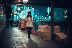 Somewhere in Shinjuku (Laser Kola) Tags: shinjuku japan streetphotography umbrella japanesegirl citylights nightlife urbanphotography bladerunner cyberpunk canoneos5d candid laserkola lasseerkola cinematic dreamy neoncity streetclassics