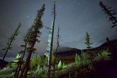 Side of a Mountain (John Andersen (JPAndersen images)) Tags: alberta aurora elbowfalls kananaskis logs night pond rocks sky smoke stars trees