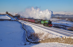 61306+35018 At Greengates  02/02/2019. (briandean2) Tags: 35018britishindialine 61306mayflower greengates birkettcommon settlecarlislerailway steam railways uksteam ukrailways cumbria snow winter