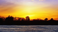 Treeline Sunset over a Frozen Lake (Bob's Digital Eye 2) Tags: bobsdigitaleye bobsdigitaleye2 canon canonefs55250mmf456isstm clouds dusk flicker flickr glowing ice lake lakesunset lakescape nature outdoor silhouette skies sky sunset sunsets t3i trees winter winterinmn yellow laquintaessenza