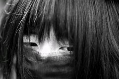 eyes within (gro57074@bigpond.net.au) Tags: eyesdon'tlie 2019 february shimokitazawa monotone monochrome mono blackwhite bw guyclift candidportrait candidstreet portrait japanese japan hair woman face eyes candid