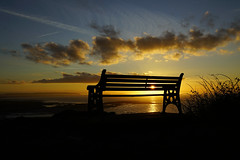 Best Seat In The House (JamieHaugh) Tags: clevedon somerset england uk gb britain outdoors sony alpha ilce7rm2 a7rii zeiss sun sunset bench seat evening sky clouds dusk quiet tranquil peaceful landscape seascape horizon sunburst