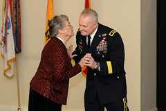 Fort Knox Gold Neighbor Barbara Proffitt receives Commander's Award for Public Service Dec. 8, 2018 (Fort Knox, KY) Tags: evans fortknox ftknox garrison holidayreception kentucky mgevans saberquill usarmy army christmas usa barbara proffitt commanders award for civilian service pie lady mama commanding general saber quill partnership community dec8 2018