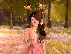 Magic 🍃 (ღ Sɑrɑɑh Drɑgoone ღ) Tags: pink girl princess star rose bird forest cute secondlife sl photo pic flower fay