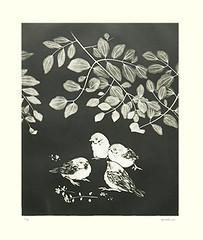 Unknown flower and Eurasian tree sparrow (Japanese Flower and Bird Art) Tags: flower bird eurasian tree sparrow passer montanus passeridae kaoru saito modern intaglio print japan japanese art readercollection