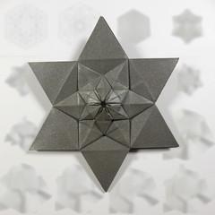 Instructions for Lucky Star Fractal (Michał Kosmulski) Tags: origami star fractal selfsimilarity instructions tutorial diagrams phototutorial cp creasepattern michałkosmulski shuzofujimoto haligamihalinarościszewskanarloch andrewhudson metallicpaper grey gray tessellation