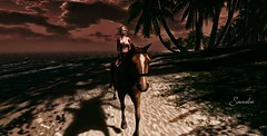 Afternoon horseback ride. (The WatcherSL) Tags: horse beach girl afternoon artwork