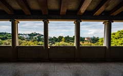 The Temple of Hephaestus from the Agora (RichardJames1990) Tags: athens ancient greece hellenic hellas old agora ruins pillar stone white column looking out been historic view panorama temple greek hephaestus hill green window windowed holiday europe serene