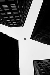 """""""Get out of my Ally"""" (joekline_) Tags: black white building airplane sky cleveland street"""