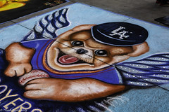 LA Dodgers Fan (Thad Zajdowicz) Tags: zajdowicz pasadena california usa travel canon eos 5d3 5dmarkiii dslr digital availablelight lightroom outside outdoors chalkfestival carshow ef24105mmf4lisusm street urban city art public chalk festival sidewalk outdoor color blue colour dog face smile ladodgers eyes baseball