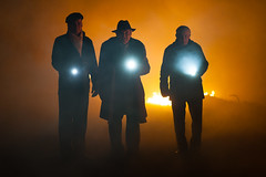 Three Kings (GrandJr) Tags: shooting three gypsy musicians lamp torch beam beams orange flame fire behind backlight nikon people portrait silhouette grandjr valley d3 85mm 18g red mist fog haze smoke composition commercial arrival