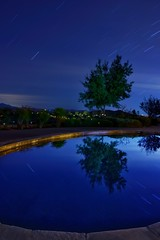 Star trail reflections (tlillig) Tags: night reflection pool psexpress snapseed sigma16mm alpha a6000 california ramona startrails stars