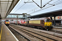 67021 + 82203 + 91128 + 43319 + 43251 - Cambridge - 13/01/19. (TRphotography04) Tags: belmond british pullman liveried db cargo uk 67021 drags london northeastern railways lner dvt 82203 91128 through cambridge working diverted 1a18 0834 leeds kings cross while hst 43251 43319 work 1s16 1046 inverness northbound