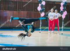 """Kamenskoye, Ukraine - February 18, 2018: Championship KPSK """"Prometheus"""" on cheerleading, young cheerleaders perform at the city cheerleading championship (ig_royal6969) Tags: woman child sport dance young cheerleader female team cheerleading pompom teenager athlete cheerful costume performing supporter smiling uniform group happy cheering victory dancer jumping teamwork unity match editorial competition league action game indoor championship jump professional stadium arena college cup dribble girls power score tournament acrobat solo duet ukraine"""