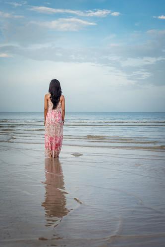 Aom on the beach in Hua-Hin, Thailand