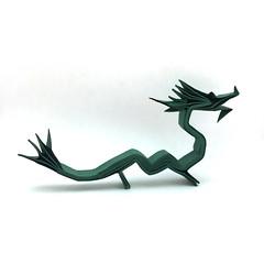 Origami Asian Dragon (Orimin) Tags: origami paper papercraft art handmade craft mythology dragon tail long asian chinese japanese korean green horns mindaugas cesnavicius