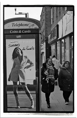 A GENTLEMEN NEVER TELLS (StockCarPete) Tags: camden bw pavement london uk phonebox women advert advertising clothing fashion graffiti lettering londonlettering