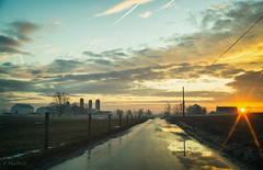 sunrise (Jen MacNeill) Tags: lancaster county pa pennsylvania road driving winter farm farmland agriculture silo amish barn ag sunrise dawn daybreak sun