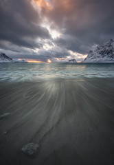Vik, Lofoten (eriknst) Tags: lofoten norway nikon seascape 1424 beach ocean water sea snow winter svolvær vik haukland arctic norvege norwegen ice waves