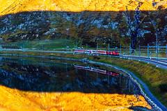 MGB am  Oberalppass (Urschner Bär) Tags: autumn paisage herbst switzerland automne matterhorngotthardbahn uri azul suisse eisenbahn kturi schatten blau oberalppass sombra shadow andermatt landscape see lago amarillo suiza jaune bleu galenstocgelb zug lac blue yellow urserental mgb autumncolors ombre train schweiz coloresdelotoño otoño paysage herbstfarben couleursdautomne tren