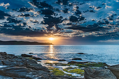 Sunrise Seascape with Clouds (Merrillie) Tags: daybreak sunrise cumulus nature dawn coast water morning sea newsouthwales rocks pearlbeach nsw rocky waterscape ocean earlymorning landscape waves coastal clouds outdoors seascape australia centralcoast sky seaside
