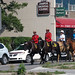 Royal Canadian Mounted Police in Red Serge dress uniforms in Jasper, AB