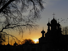 One sunset in Moscow (janepesle) Tags: russia moscow sunset sundown light sun city cityscape architecture tree shadow nature park church