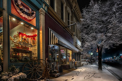 Hometown Christmas (The Shutter Affair) Tags: nightphotography hometown small town america storefront city townclock lowellmichigan lowell michigan michiganphotographer michiganphotography antiques americana