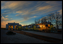500 Years of Service... (wheniwas14) Tags: sunset trains gp7 gp9 gp30 indianaandnortheastern trainshed sky clouds