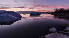 All Most Gone (Adam's Attempt (at a good photo)) Tags: allmostgone utah utahlake utahlakesunset winter ice iceoff sunset colorful colorfulsunset lake utahlakeice reflection reflections nikon tokina 1116mm captureone d500 clouds cement trees mountains utahsnow snow