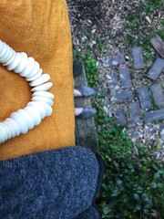353/365 (moke076) Tags: 2018 365 project 365project project365 oneaday photoaday mobile cell cellphone iphone self selfie me portrait lookingdown fromwhereistand linen mustard yellow shirt beads necklace shoes boots feet sevillasmith