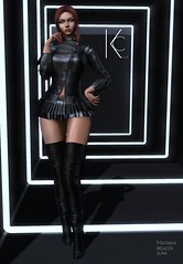 Aisha Jacket Skirt and Boot (Kla Cale) Tags: sl secondlife outfit mesh fitmesh avatar model modelling mode mannequin fashion event dress beauty elegance female clothing maitreya slink belleza kc style kla cale mainstore glamoure leather lace harness underpants leggins top bra skirt collar open bdsm rlv collana choker necklace bikini boot boots shoes high