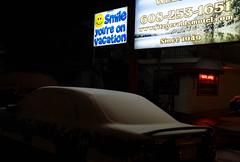 Smile! (Rick Olsen) Tags: snow night cold dark sign fuji fujifilm xt2