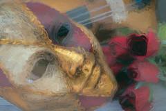 SL071118 Violin and Mask 02.jpg (Sh4un65_Artistry) Tags: digitalart painterly topazimpression mask plants topaz textured musicalinstruments paintedphoto stilllife painteffect digitalpainting artwork flowers