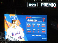 Citi Field, 09/26/18 (NYM v ATL): Jacob deGrom at-bat graphics as shown in the bottom of the 5th inning - in this at-bat, deGrom will walk on six pitches (IMG_3645a) (Gary Dunaier) Tags: baseball stadiums stadia ballparks mets newyorkmets flushing queens newyorkcity queenscounty queensboro queensborough citifield