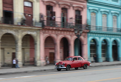 Speeding car in Havana (s_andreja) Tags: cuba havana habana panning old car building arcades street