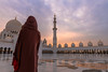 Woman-in-abaya-Grand-Mosque-sunset-gazing.jpg (yobelprize) Tags: east sunsetsky yobelmuchang sheikh tourist emirates abayafashion religious united abudhabi arches zayed illuminated architecture islam worship abaya temple traditional abu redpurse dome domes sunset grand culture jedi landmark reflections mosque gold dhabi nightphotography middle islamic religion hood blue silhouette uae famous symmetry robes pillars yobel grandmosque arabic abayawoman arab muslim