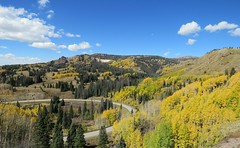 Hairpin on the Highway (Patricia Henschen) Tags: fallcolors colorado aspen autumn railroad steam steamengine steamlocomotive cumbrestoltec scenicbyway railway track cumbres pass loscaminosantiguos newmexico chama antonito train trains mountain co17 scenichistoricbyway rural highcountry scenic clouds pathscaminhos curve road hairpin narrowgauge