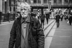 Melancholy (Leanne Boulton) Tags: urban street candid portrait portraiture streetphotography candidstreetphotography candidportrait streetportrait streetlife old elderly man male face eyes expression mood feeling emotion tiredness mournful melancholy sad sadness beard layers tone texture detail depthoffield bokeh naturallight outdoor light shade city scene human life living humanity society culture lifestyle people canon canon5dmkiii black white blackwhite bw mono blackandwhite monochrome glasgow scotland uk